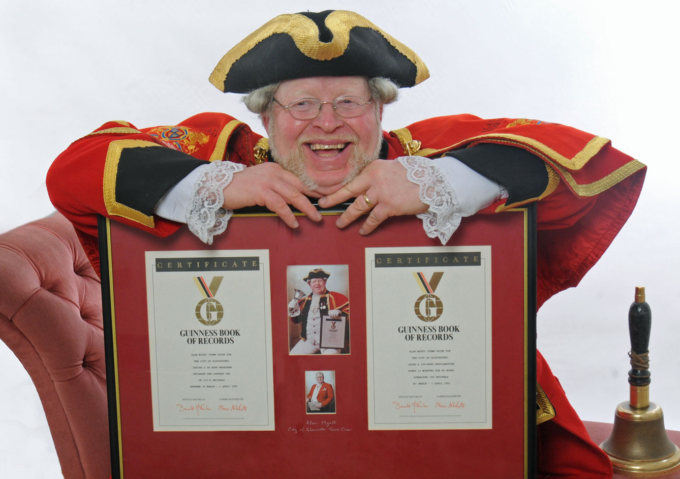 Alan Myatt with his Guinness Book of Records Certificates