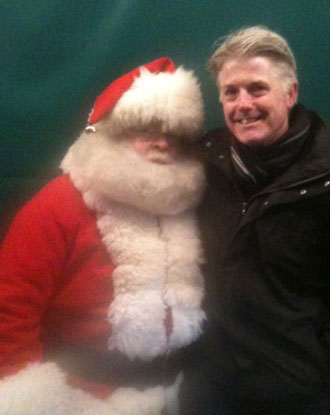 The Deluxe Father Christmas meets Gloucester Council Leader Paul James