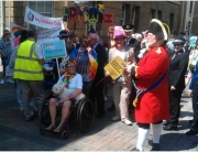 Leading the Gloucestershire Pride Parade 2014