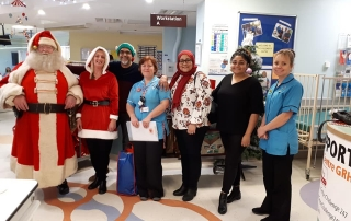 Alan Myatt dressed up as Deluxe Father Christmas at Gloucester Royal Hospital