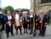 Alan Myatt celebrating St George's Day at Gloucester Cathedral