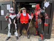 Alan Myatt in Camden with Marvel characters
