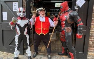 Alan Myatt in Camden with Marvel characters