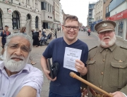 Alan drumming up business for the Soldiers of Gloucester museum